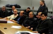 Од лево кон десно: обв. Агим Исмаиловиќ, адв. Насер Рауфи, обв. Фејзи Азири, обв. Хаки Хазири, обв. Рами Сејди